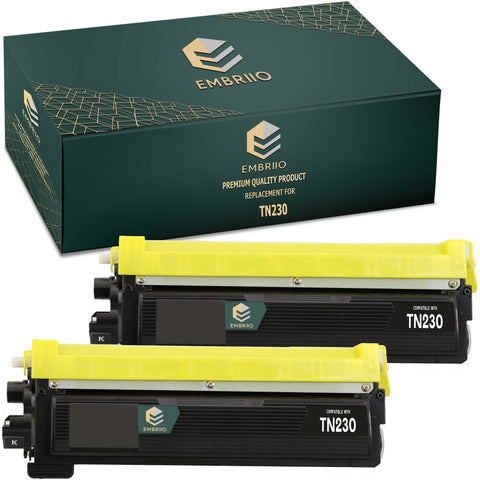 EMBRIIO TN-230 TN-230BK Set of 2 Black Compatible Toner Cartridges Replacement for Brother HL-4140CN HL-4150CDN HL-4570CDW HL-4570CDWT DCP-9055CDN DCP-9270CDN MFC-9460CDN MFC-9465CDN MFC-9970CDW