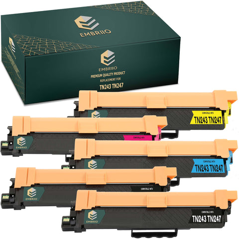 EMBRIIO TN243 TN247 Set of 5 Compatible Toner Cartridges Replacement for Brother HL-L3210CW HL-L3230CDW HL-L3270CDW DCP-L3550CDW DCP-L3510CDW MFC-L3710CW MFC-L3750CDW MFC-L3770CDW MFC-L3730CDN