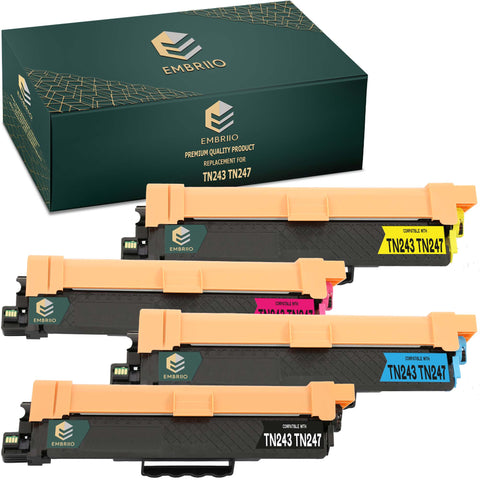 EMBRIIO TN243 TN247 Set of 4 Compatible Toner Cartridges Replacement for Brother HL-L3210CW HL-L3230CDW HL-L3270CDW DCP-L3550CDW DCP-L3510CDW MFC-L3710CW MFC-L3750CDW MFC-L3770CDW MFC-L3730CDN