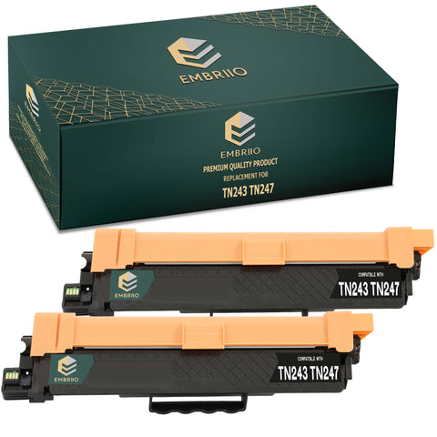EMBRIIO TN243 TN247 Set of 2 Black Compatible Toner Cartridges Replacement for Brother HL-L3210CW HL-L3230CDW HL-L3270CDW DCP-L3550CDW DCP-L3510CDW MFC-L3710CW MFC-L3750CDW MFC-L3770CDW MFC-L3730CDN
