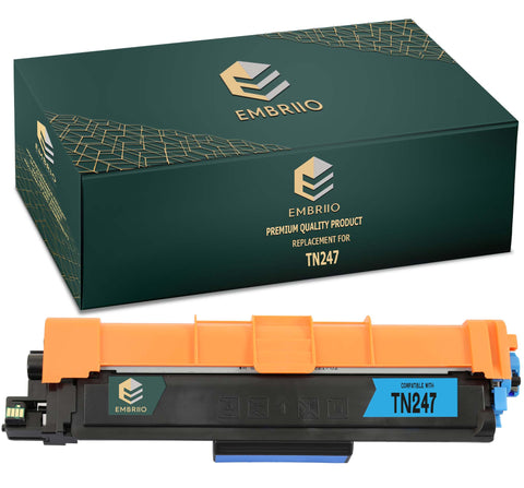 EMBRIIO TN-247 TN-247C Cyan Compatible Toner Cartridge Replacement for Brother DCP-L3550CDW HL-L3210CW DCP-L3510CDW HL-L3230CDW HL-L3270CDW MFC-L3750CDW MFC-L3710CW MFC-L3770CDW MFC-L3730CDN