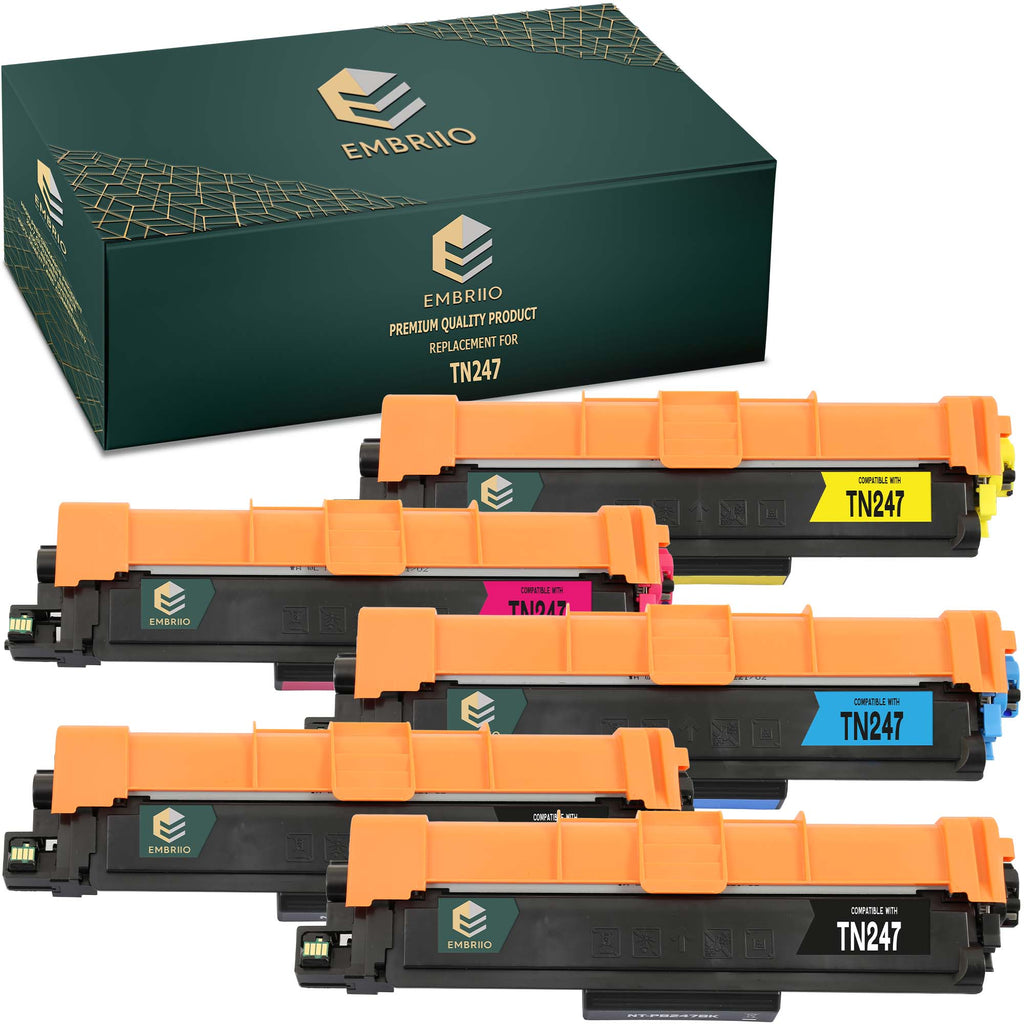 EMBRIIO TN-247 Set of 5 Compatible Toner Cartridges Replacement for Brother DCP-L3550CDW HL-L3210CW DCP-L3510CDW HL-L3230CDW HL-L3270CDW MFC-L3750CDW MFC-L3710CW MFC-L3770CDW MFC-L3730CDN
