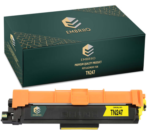EMBRIIO TN-247 TN-247Y Yellow Compatible Toner Cartridge Replacement for Brother DCP-L3550CDW HL-L3210CW DCP-L3510CDW HL-L3230CDW HL-L3270CDW MFC-L3750CDW MFC-L3710CW MFC-L3770CDW MFC-L3730CDN