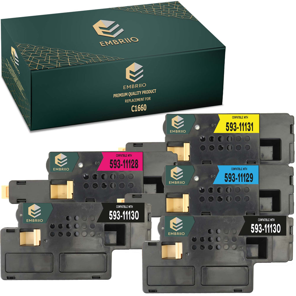 EMBRIIO C1660 Set of 5 Compatible Toner Cartridges Replacement for Dell C1660 C1660w