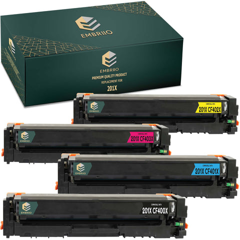 EMBRIIO 201X CF400X-CF403X Set of 4 Compatible Toner Cartridges Replacement for HP Color LaserJet Pro MFP M277dw M277n M274n M252dw M252n