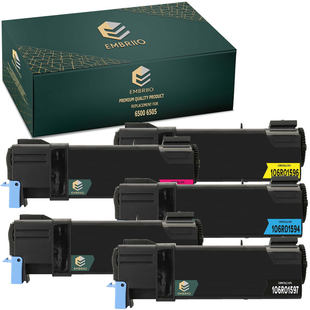 EMBRIIO 6500 6505 Set of 5 Compatible Toner Cartridges Replacement for Xerox 6500N 6505N 6505DN 6500DN 6500VDN