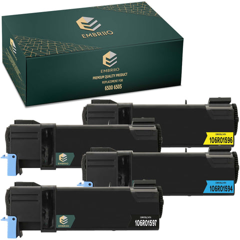 EMBRIIO 6500 6505 Set of 4 Compatible Toner Cartridges Replacement for Xerox 6500N 6505N 6505DN 6500DN 6500VDN