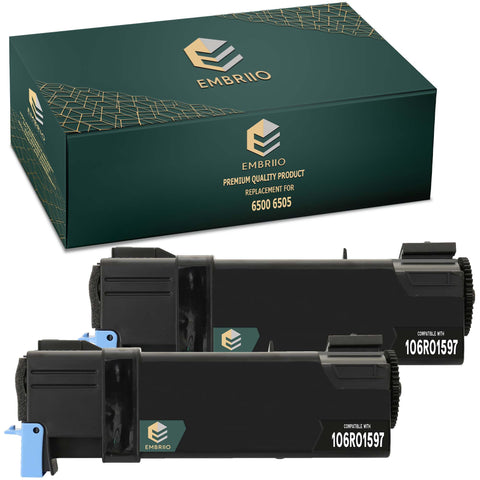 EMBRIIO 6500 6505 106R01597 Set of 2 Black Compatible Toner Cartridges Replacement for Xerox 6500N 6505N 6505DN 6500DN 6500VDN