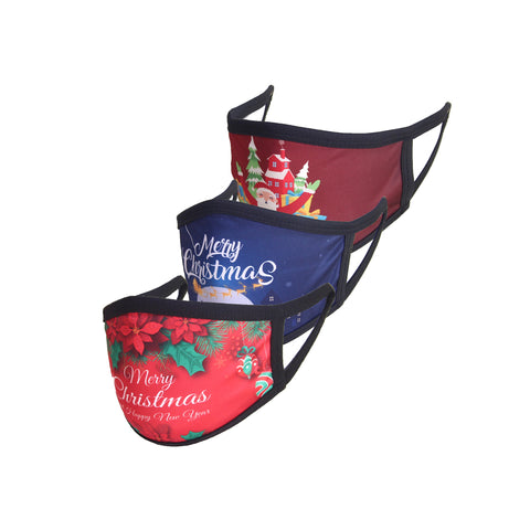 Pack of 3 Christmas Masks-Floral, Sleigh, Santa