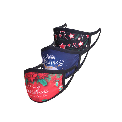 Pack of 3 Christmas Masks-Floral, Sleigh, Star