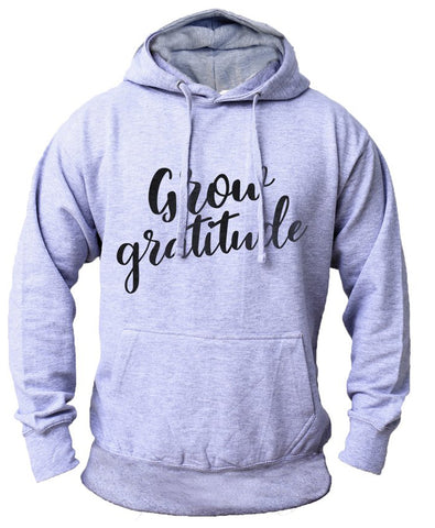 Men's 'Grow Gratitude' Fleece Pullover Long-sleeved Printed Hoodie