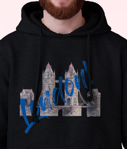 Men's London Bridge Fleece Pullover Long-sleeved Printed Hoodie