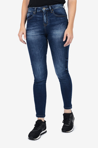 Mid Rise Skinny Fit Jeans - Deep Blue