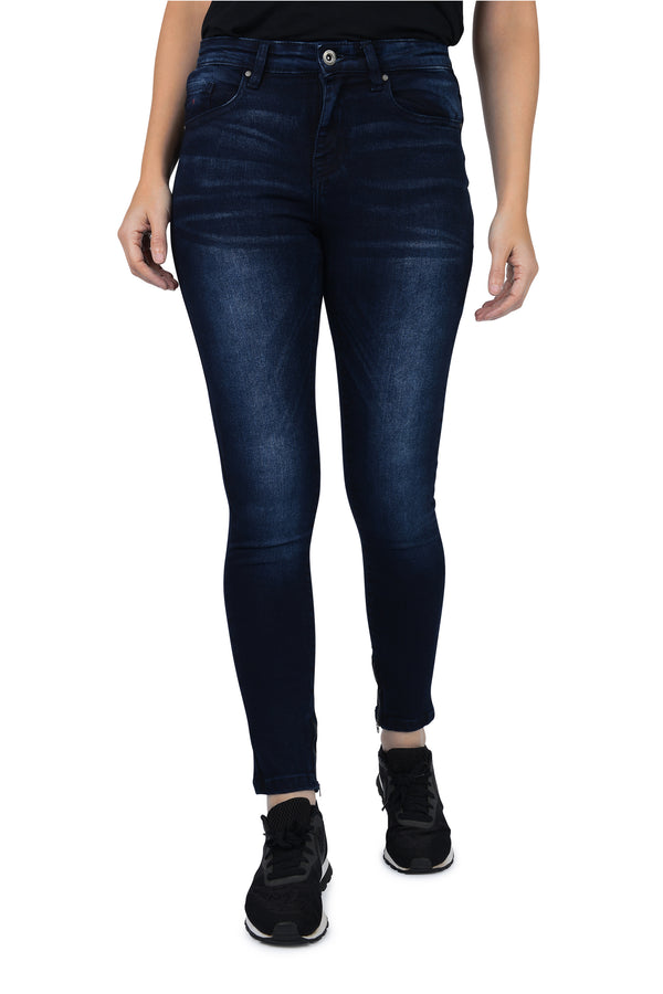 FiveEmperors Womens Jeans Skinny Fit Mid Rise Faded Blue Wash