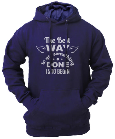 Men's 'The Best Way' Fleece Pullover Long-sleeved Printed Hoodie