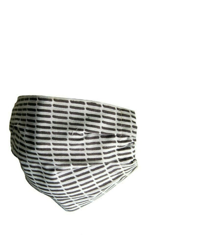 Reusable Cotton Pleated Mask - Grey Stripes