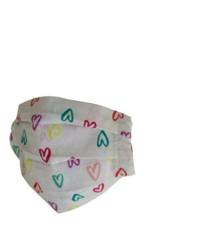 Reusable Cotton Pleated Mask - Multi Hearts
