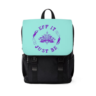 The Eff It Just Be Modern Shoulder Backpack in Teal with Purple