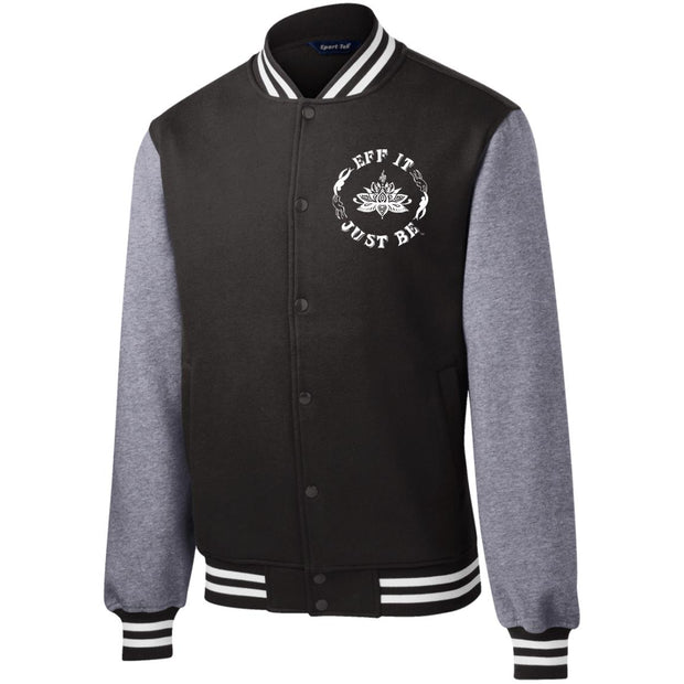 Fleece Letterman Jacket by Eff It Just Be