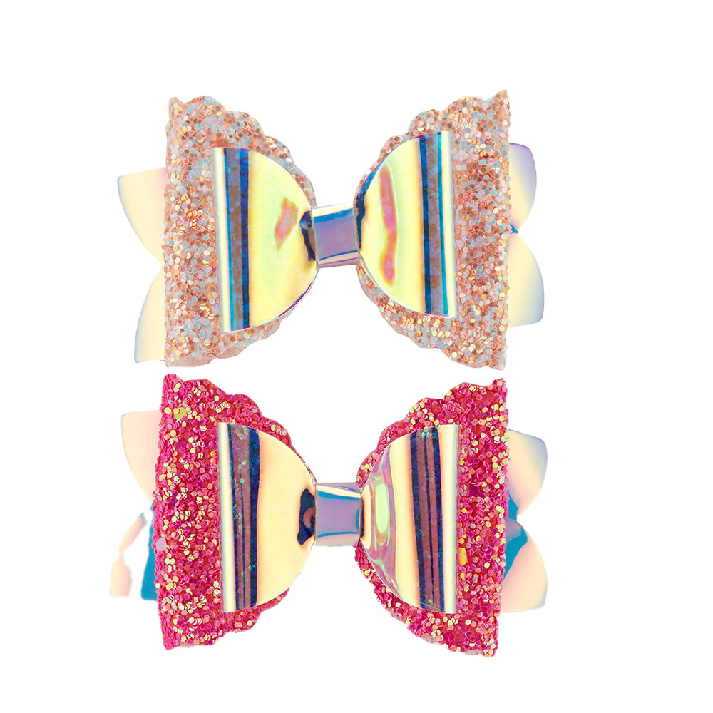 Glitzy Mermaid Clips - Pink 2pk