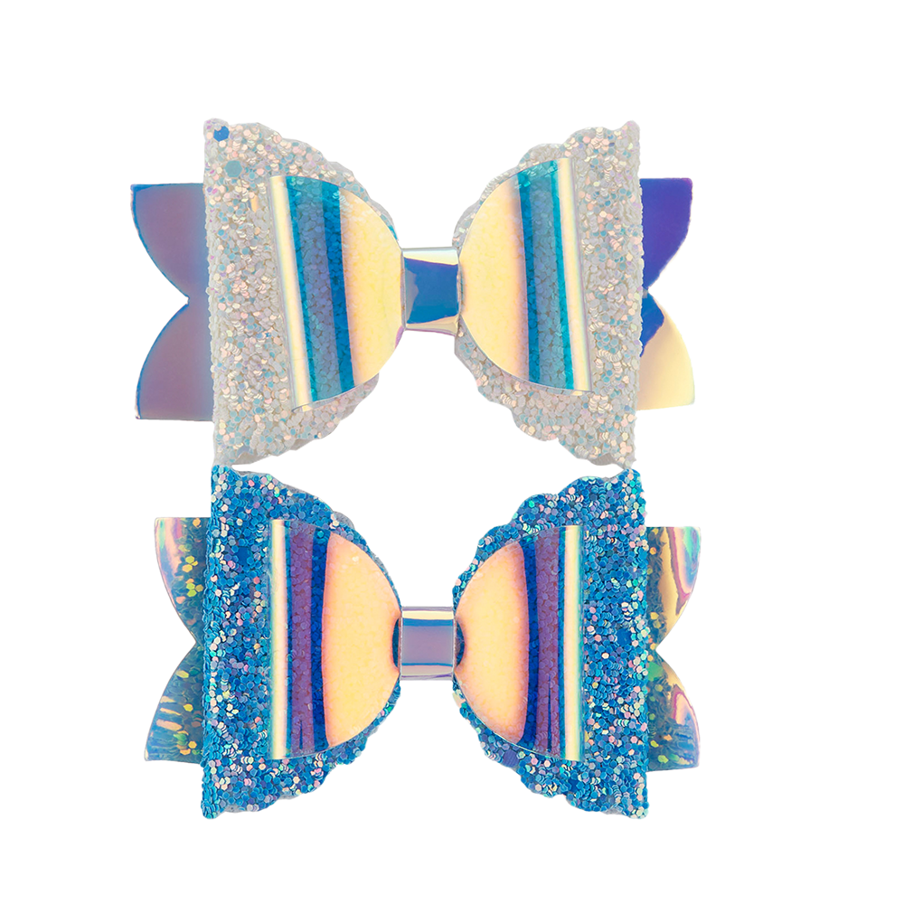 Glitzy Mermaid Clips - Blue/White 2pk
