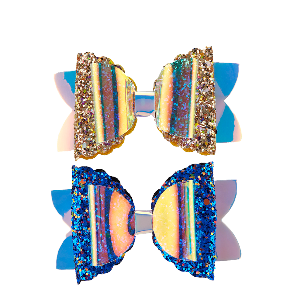 Glitzy Mermaid Clips - Blue/Gold 2pk