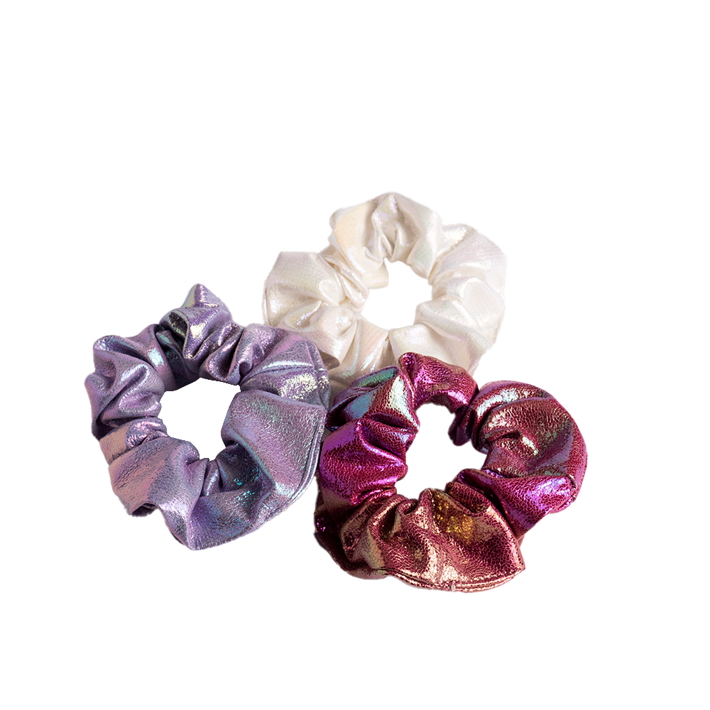 Iridescent Leatherette Scrunchies 3pk - Purple/White