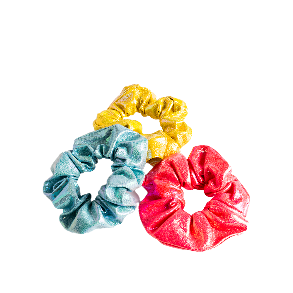 Iridescent Leatherette Scrunchies 3pk - Multi