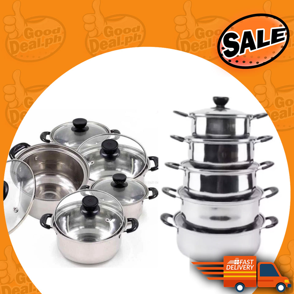5Pcs Set Arc Pot Stainless Steel Cookware