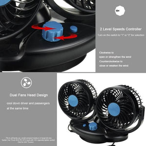 12V Electric Car Fan 360 Degree Rotatable
