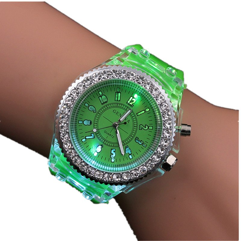 5bd9171a5 Night Light Quartz Watch 2018 Diamond Geneva Silicone Sports Glowing  Women's Watches For Students Children Kids ...