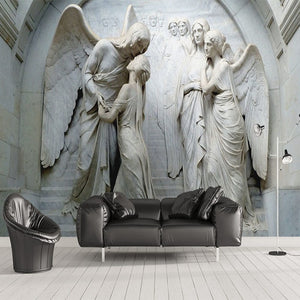3d Photo Wallpaper European Style Angel Relief 3d Stereo Wallpaper Tv Background Wall Living Room Sofa Bedroom Mural Wallpaper Wallpapers