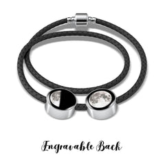 Engravable Twin Moon Charms Woven Leather Bracelet