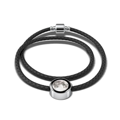 Moon Woven Leather Charm Bracelet
