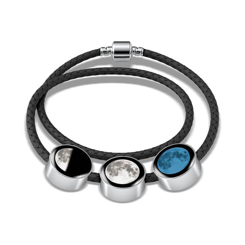 Trinity Moon Charms Woven Leather Bracelet