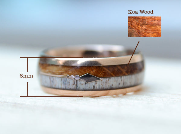 8mm Gold plated Tungsten Ring With Cool Koa Wood Inlay and Sleek Silver Feathered Arrow
