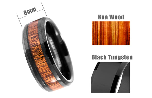 8mm Tungsten Band with Redwood Inlay and Damascus Steel Pattern Laser Engraved Black Tungsten Ring-tungsten rings for men