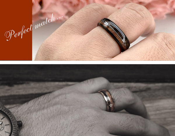 UD Black Tungsten Ring Sets with Koa Wood Inlay and Sleek Silver Feathered Arrow