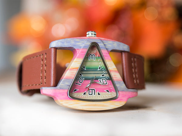Womens Triangle Colorful Wood Watch