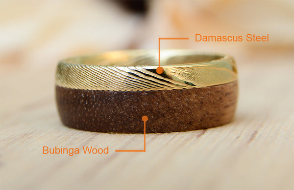 Damacus Steel with Wood Inlay Wedding Ring on sale