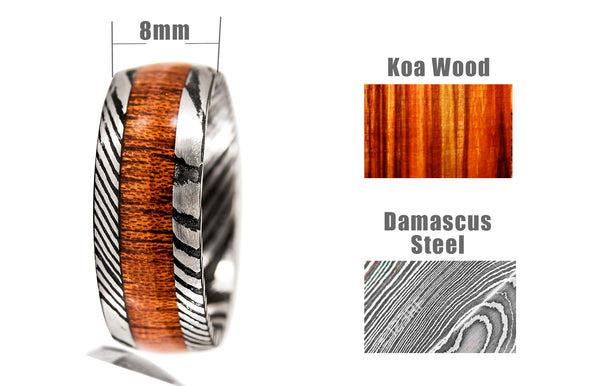 Damascus Steel Ring Wood Inlay
