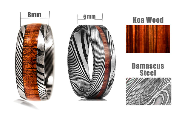 Damascus Steel Pattern Ring set- dimensions