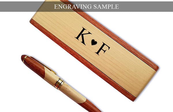 ENRGAVED Wood Ballpoint Pen Gift Set with Business Pen Case Display