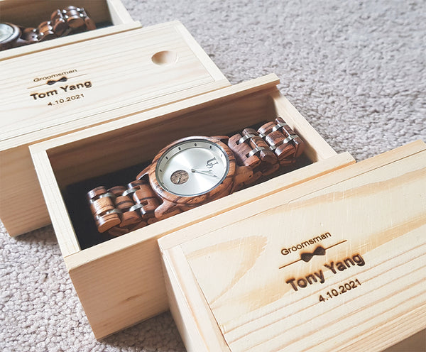 Groomsmen gifts-Mens Round Zebra Wood Grain Watch Luxury Wood & Stainless Steel Combined Watch Band