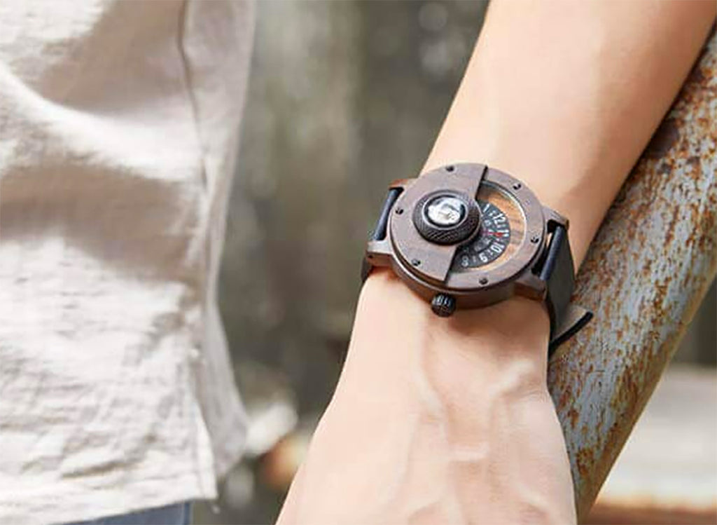 Handmade Compass Wooden Watch For Men With Leather Strap