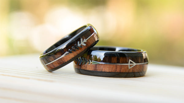 Match His and Hers wood wedding band set