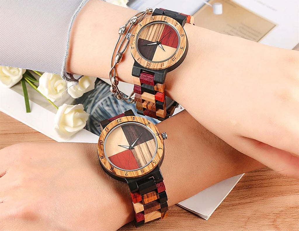 Match his and hers Color block Wood Watches