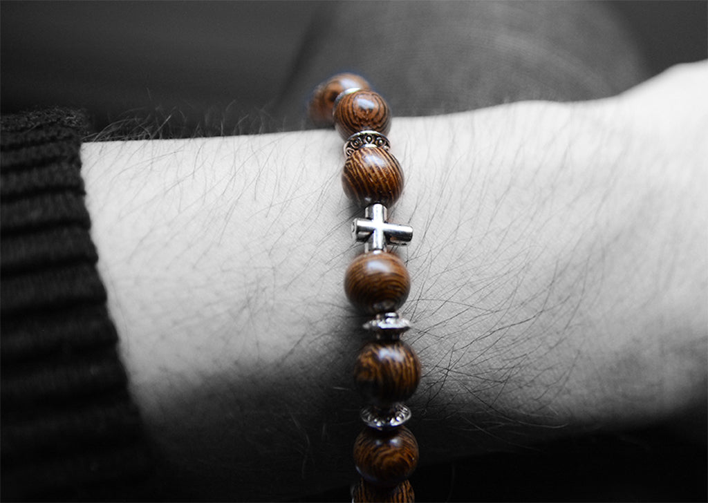 Mens Wood Bead Bracelet Elastic Stretch