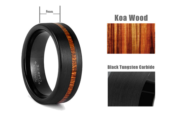 Mens 8mm Black Tungsten Carbide Ring Outside Matte Brushed with Wooden Texture Inlay-dimensions