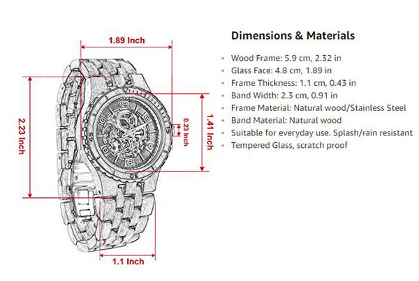 Mens Automatic Mechanical Wood Watc